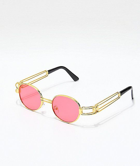 a74c4a237 Secure any chic look with the Petals & Peacocks Domina Red and Gold  Sunglasses. Inspired by retro 90's styling yet very contemporary, these  shades offer ...