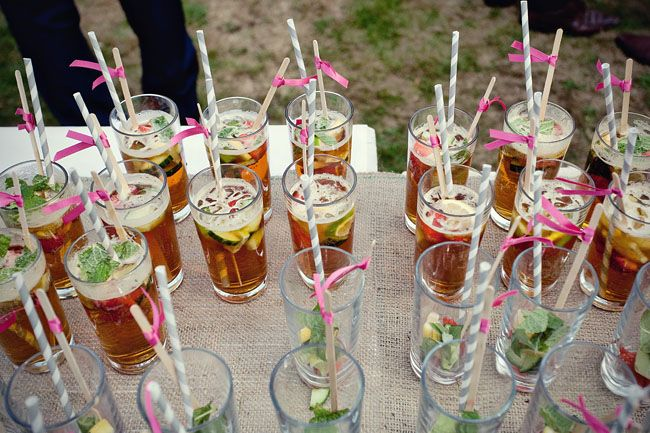Pimms for welcome drinks at a wedding, Pimms is a quintessential English summer drink.  It's a brand of fruit cup, is Gin based and tastes of spices and citrus flavours and can be served with lemonade, fruit and ice.
