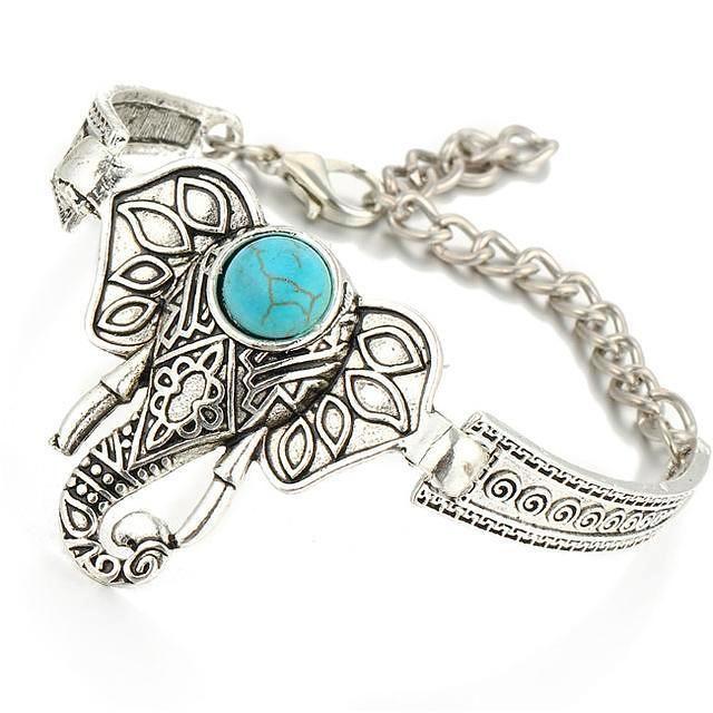 Fashion Boho Elephant Antique Silver Bangle Bracelet