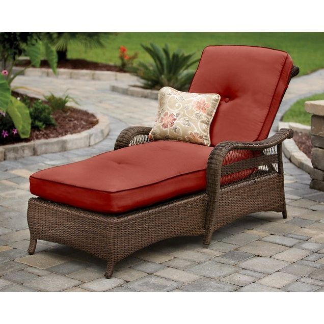 enjoy the summer in comfort and style in the pinehurst chaise lounger by agio outdoor furniture this wicker style lounger is the perfect for the patio