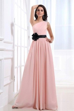 Beading Accented Rosette Chiffon Long Bridesmaid Dress. can pick sash color too!!