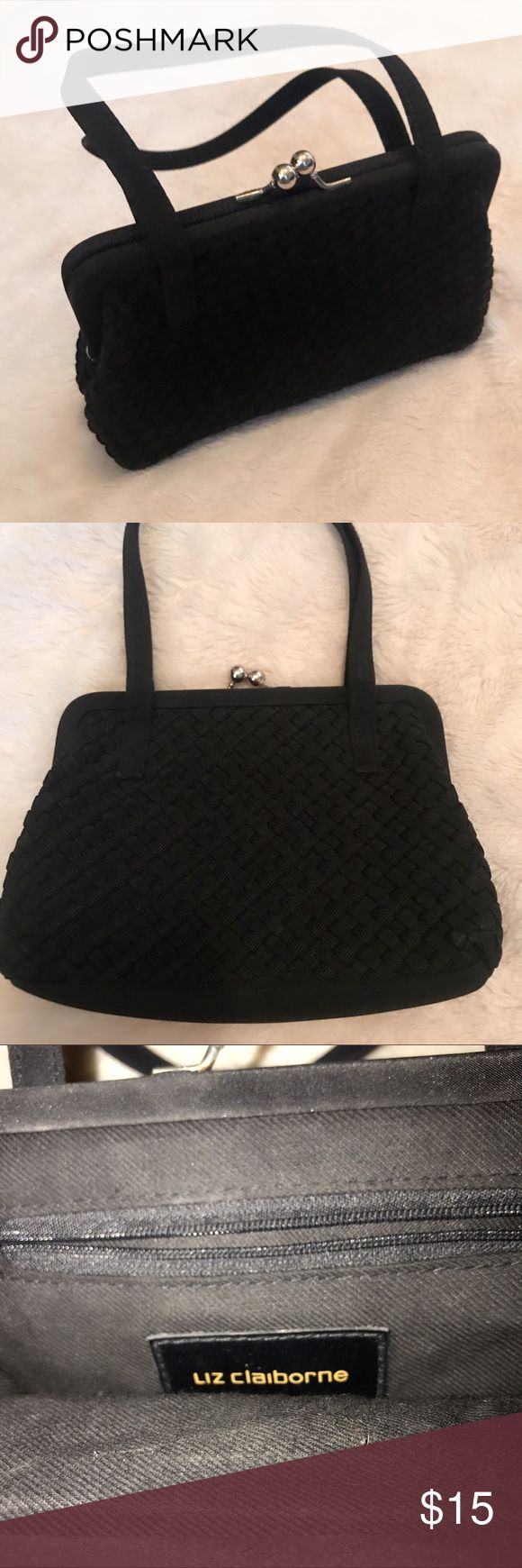 Liz Claiborne Evening Bag Looking for the perfect evening bag?  This purse was used once. Yep, once to take to a wedding. Perfect condition.  Black with a woven detail. Toggle closure and one inside zip pocket. EUC!!! Check out my closet- bundle and save!! Liz Claiborne Bags Mini Bags