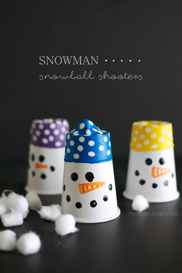 Bring the fun of the outdoors, in with this entertaining snowman craft — snowman snowball shooters!