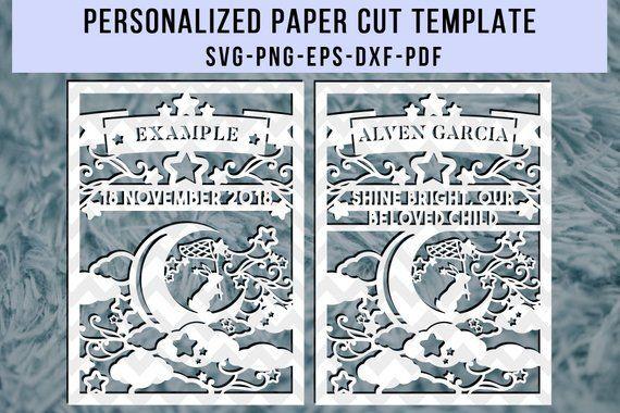 Personalized paper cut template, custom papercut, nursery decor, baby cut files, personalised gift, newborn wall art, silhouette cricut, pdf