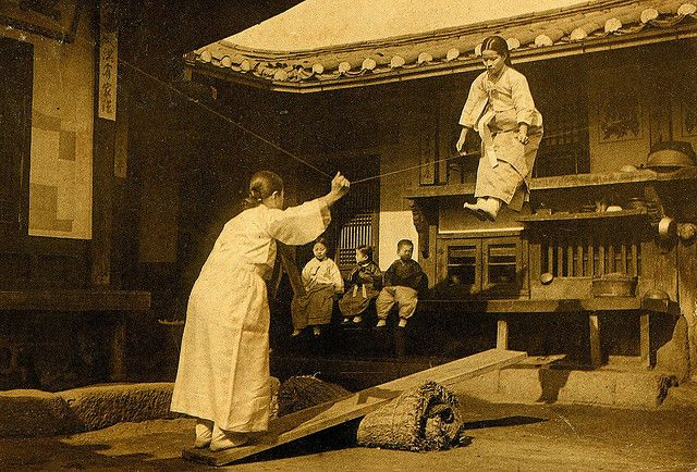 THE FLYING SEE-SAW GIRLS OF KOREA -- From a ca.1900-05 photograph of Japanese-Occupied Korea.