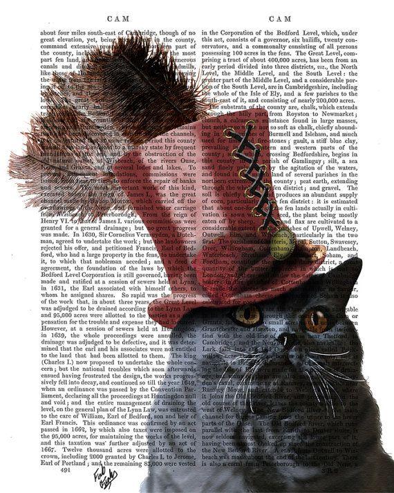 Steampunk Grey Cat Top Hat, Grey Cat Print, cat poster, cat print, gift for cat lover, wall hanging cat decor wall art, cat illustration