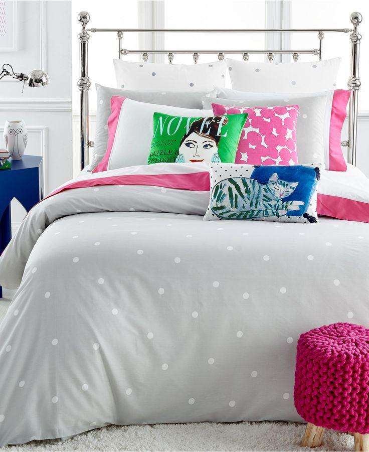 Kate Spade New York Deco Dot Platinum Comforter And Duvet