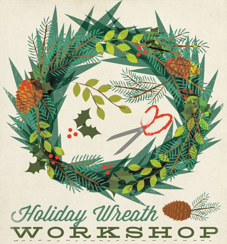 holiday-wreath illustration by amy sullivan