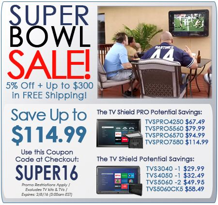 PEC is Offering 5% Off for Our Huge Super Bowl Deal – Don't Miss this Outdoor TV Cabinet Sale! - See more at: http://www.thetvshield.com/blog/super-bowl-sale-on-outdoor-tv-cases-enjoy-pecs-super-bowl-2016-savings/#sthash.THv1BsxU.dpuf #sale #superbowl