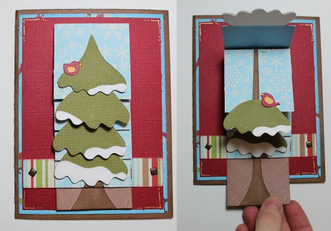 WinterTreeWaterfallCard - cute idea