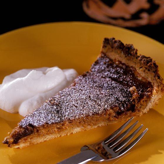 Græskartærte til Halloween - Opskrifter -http://www.dansukker.dk/dk/opskrifter/graeskartaerte-til-halloween.aspx #dansukker #opskrift #græskar #tærte #kage #lækkert #mad #spis #eat #snack
