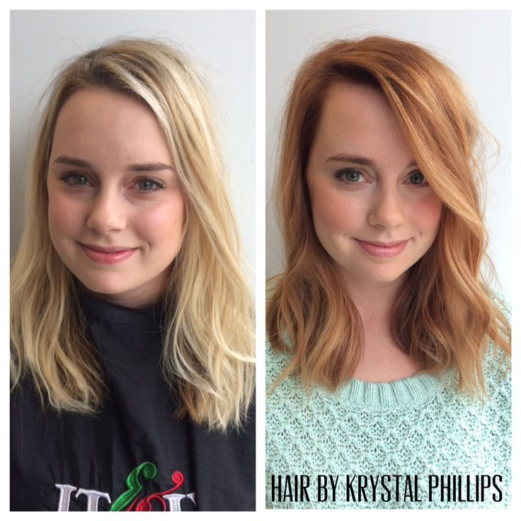 Before and after! From light blonde to strawberry blonde! Transformations at Dyer and Posta Salon!