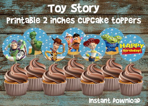 Toy Story Cupcake Toppers, Toy Story Birthday, Toy Story Favor Tag, Toy Story Printable Cupcake toppers, Toy Story Cake topper