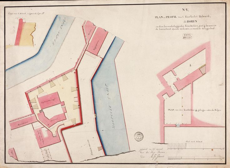 circa 1762 Map of the 'de Robijn' bastion, part of Batavia castle