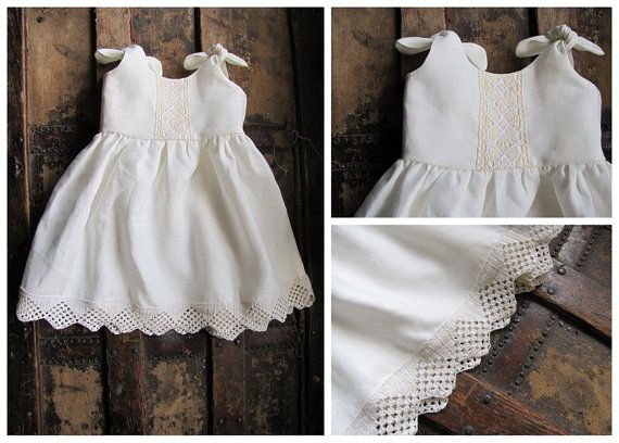 Linen Christening Gown, Infant Baptism Dress, Blessing Gown, White Infant Dress, Vintage Lace Newborn Dress, Religious Gown, Church Dress