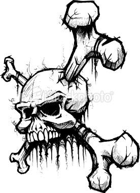 Skull Art | Skull & Crossbones Pen and Ink Sketch Royalty Free Stock Vector Art ...