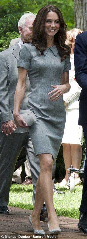 "Kate Middleton at Rideau Hall in Ottawa, 2011. Dress: Catherine Walker ""Kensington"" dress. Clutch: Hobbs ""Somerton"" clutch. Earrings: Links of London ""Hope Egg"" earrings. Court shoes: Tabitha Simmons ""Dela"" pumps."