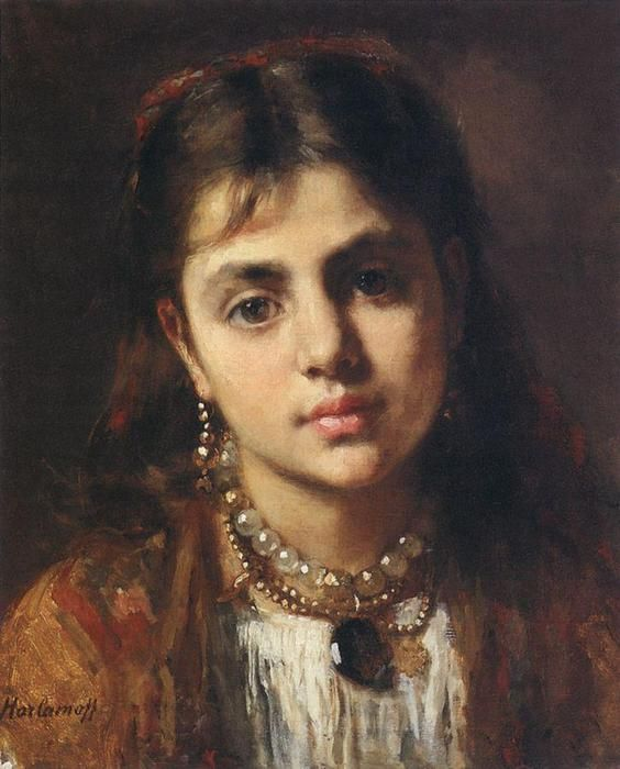 Head Of A Girl with a Pearl Neckless by Alexei Alexeievich Harlamoff (1840-1925, Russia)