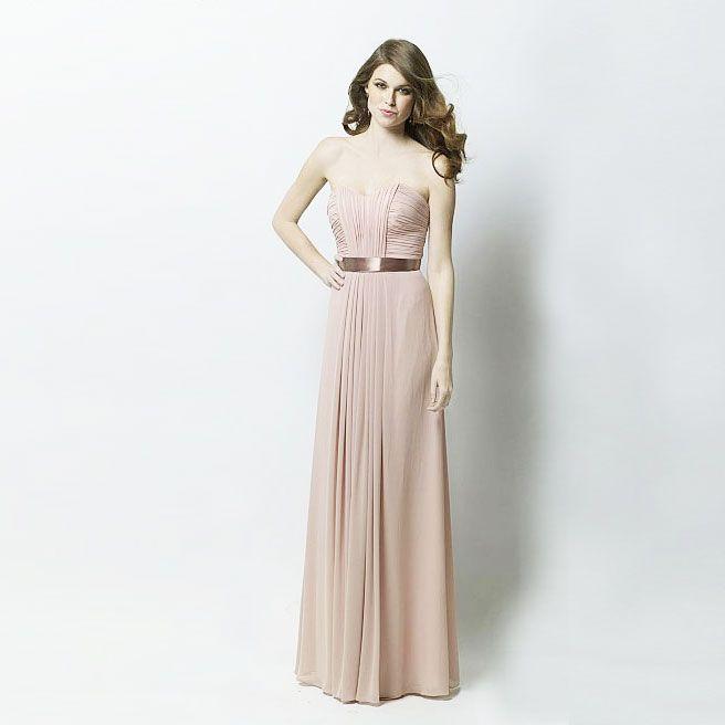 ブライズメイド・クリンクルシフォンボディスプリーツ・フロアレングスドレス。ガーデンに映えるピンクのブライズメイドドレス。  #Bridesmaid #Dress #Pink #Wedding