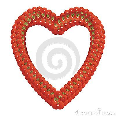 heart shaped frame made of tomatoes on a white background