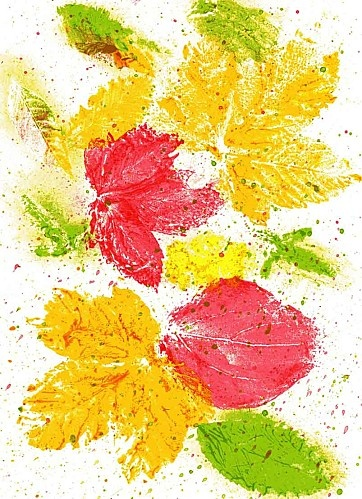 Print leaf then splatter paint with toothbrush