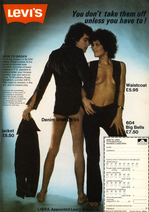Warning - boobies alert!!! #vintage 70s Levi ad. Were they serious?! Your era? Save your family memories in the order they happened at http://www.saveeverystep.com