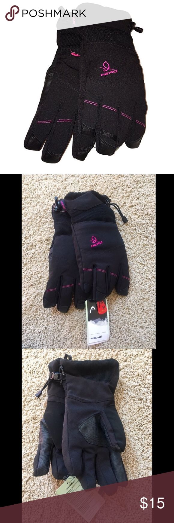 "Women's Ski Gloves by Head Brand new, with tags attached. From a smoke & pet free home. Description from website ""The dupont sorona insulation, outlast interlining, and waterproof/breathable insert retain warmth and keep moisture out. The mesh pocket provides a great place for hand warmers, keys or other small items and the hook and loop attachment system ensures you never lose your gloves"". Head Accessories Gloves & Mittens"
