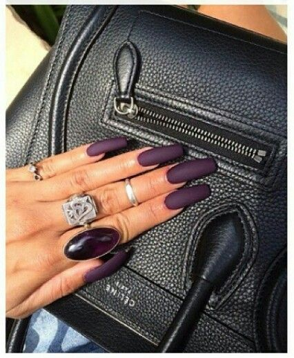 Purple Eggplant Matte Nails