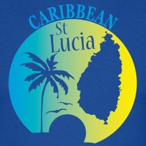 Tee-shirt Ste Lucie Ile des Caraïbes. St LUCIA Caribbean Island. Sunset and coconut. Print shirt.