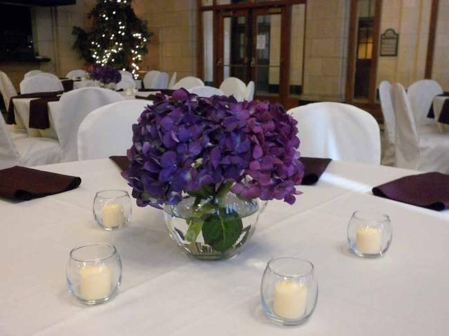 Use a rented vase and single hydrangea for simple