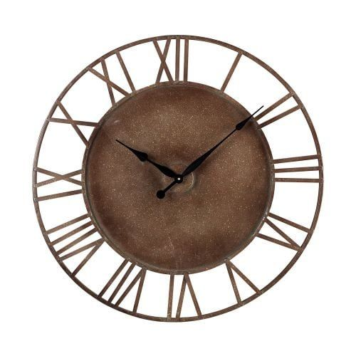 Sterling Industries 128-1002 31.5 Height Metal Roman Numeral Outdoor Wall Clock with Parity Bronze Finish