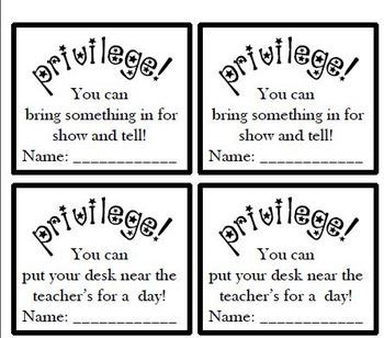 These privilege cards contain great non-tangible rewards to be used in the classroom. Each card contains another privilege. Students can pick one a...