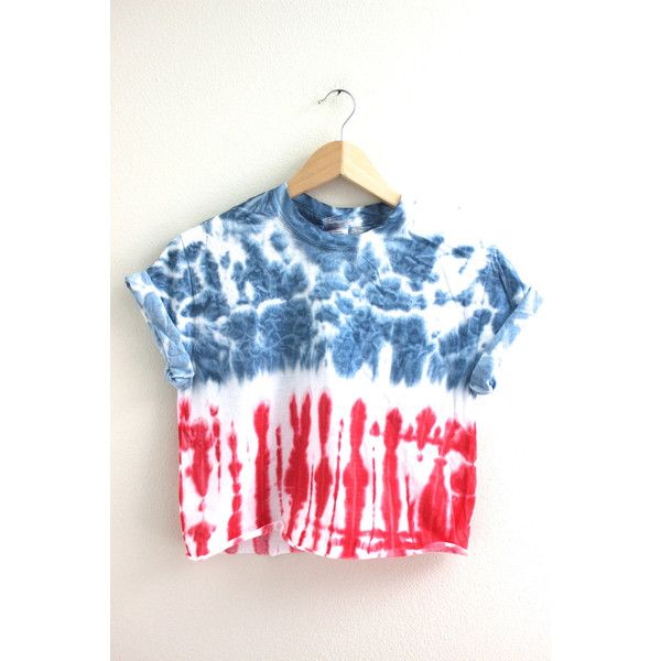 Americana Tie-Dye Cropped Tee ($15) ❤ liked on Polyvore featuring tops, t-shirts, tie dye t shirts, red crop top, cotton tee, american flag crop top and tie dyed t shirts