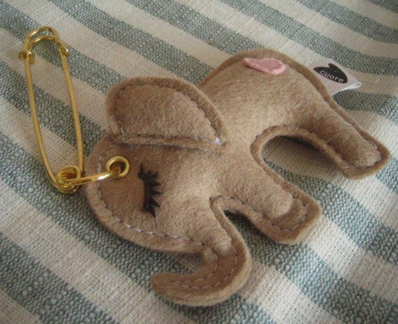 Butter the Elephant Cute Wool Felt Applique Pin Brooch Key Chain Decorative. Felty elephant goodness.