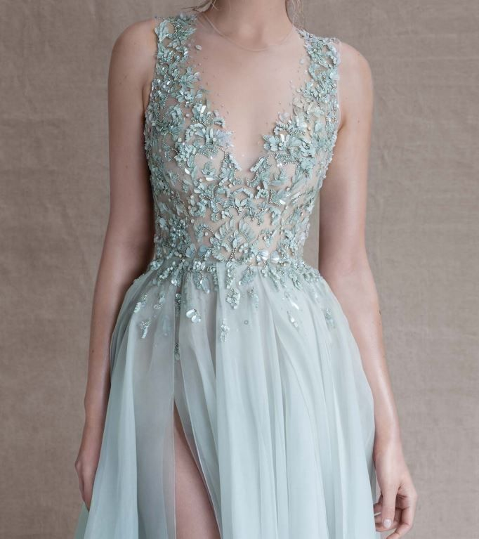 Paolo Sebastian - Sirens of the Sea: teal / blue / turquoise beaded chiffon wedding dress