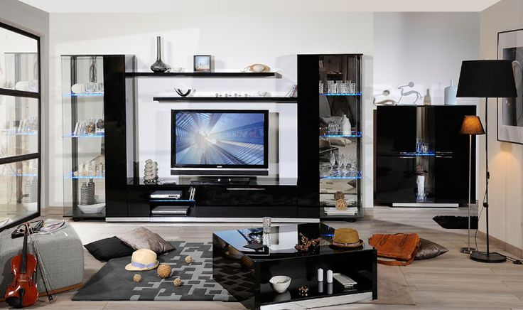 #Muebles de #salon Verso. Ambiente negro.