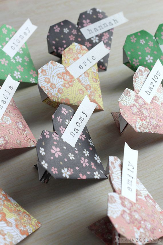 20 Origami Paper Heart Name Place Cards Handmade v…
