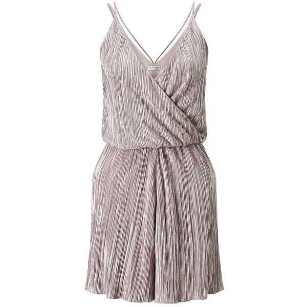 Miss Selfridge Lurex Plisse Playsuit (€62) ❤ liked on Polyvore featuring jumpsuits, rompers, assorted, metallic romper, miss selfridge and playsuit romper