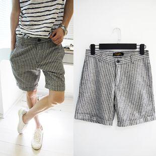 Летние мужская повседневная брюки шорты колена пять мужской моды корейской версии случайных хлопка брюки брюки мужские полосатые брюки - Тао ...