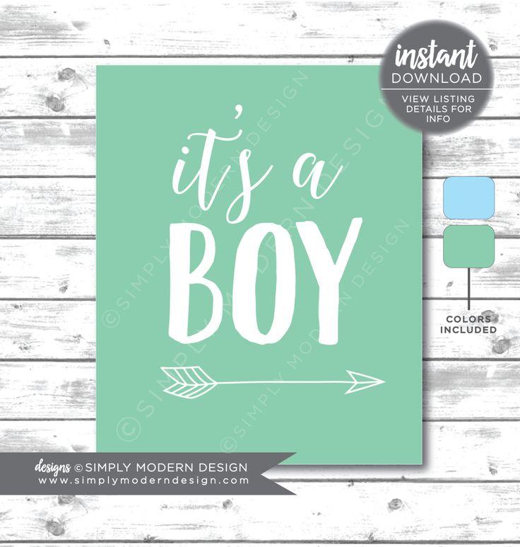 It S A Boy Sign Arrow Blue Mint Seafoam Gender