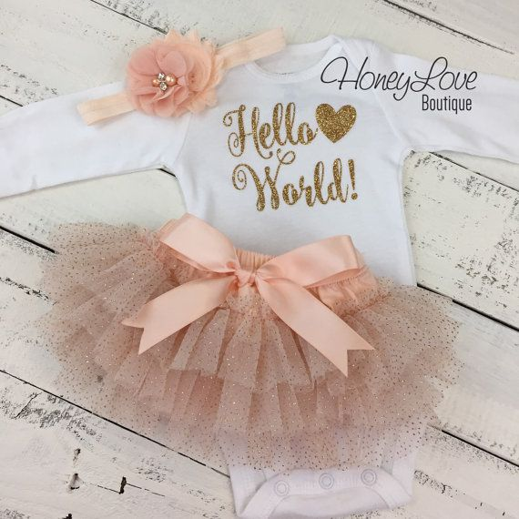 Hello World! gold shirt bodysuit, peach glitter ruffle tutu skirt bloomers, flower headband bow, newborn baby girl take home hospital outfit by HoneyLoveBoutique