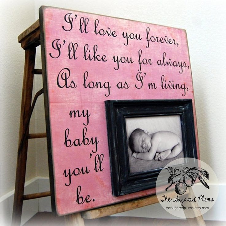 BABY GIFT For Baby Personalized Custom Picture Frame 16x16 I'll Love You Forever Baptism Christening First Birthday Godparents Girl Pink. $75.00, via Etsy.