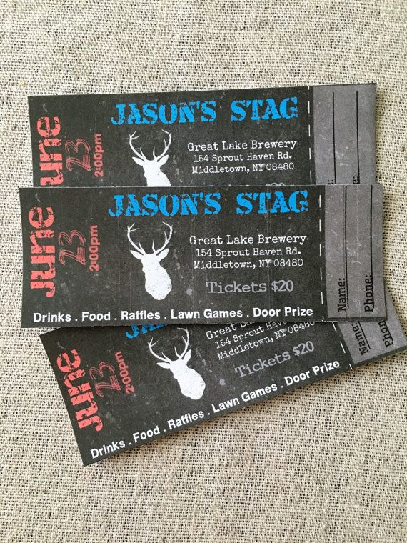 stag buck bachelor event tickets diy digital by lawsdesigns
