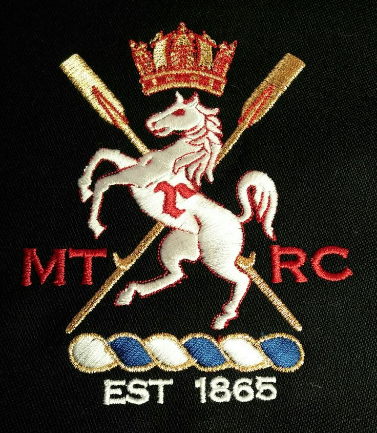 New embroidered crest created by Pauline Thomas for Medway Towns RC blazer made by Collier and Robinson to be seen at Henley.