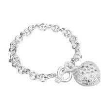 Get 925 Silver Plated Heart Charm Bracelet at Giftopia Shop