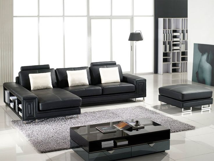 Tosh Furniture Fabio Modern Leather Sectional Sofa and