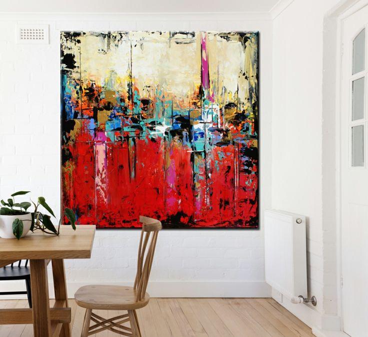 Essbereich Großes Gemälde Farbkombination Wandgestaltung Rot Blau  #decoration #interior #poster