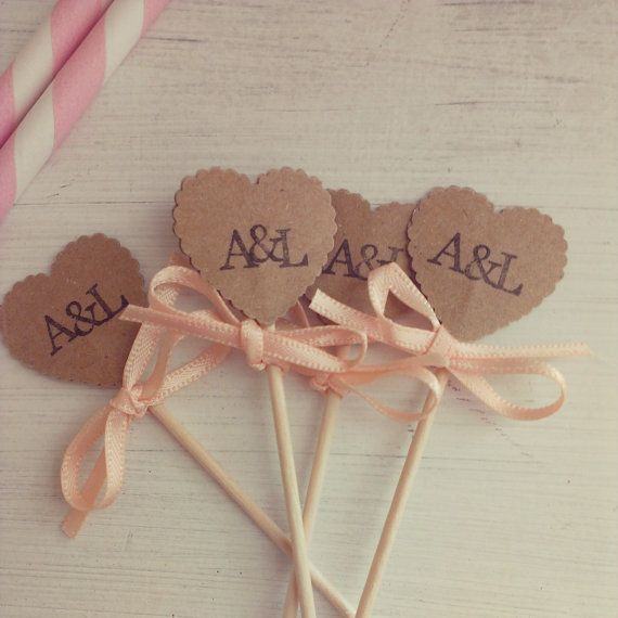 Personalised initial cupcake picks Kraft paper by LiziLoves, $8.51 for 25