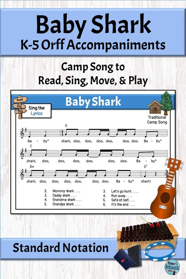 Silly Song With Orff Arrangement Baby Shark With Images