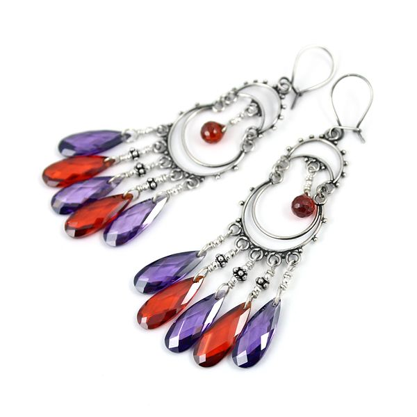 Wine&Purple.  Orient-inspired earrings, silver and cubic zirconia drops. Long, amazing, seductive.